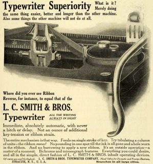 1911 Ad L C Smith Antique Typewriter Ribbon Reverse Typing Office