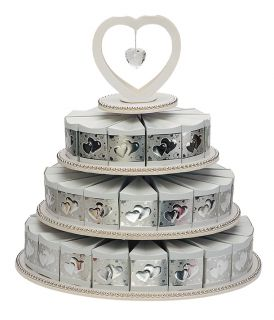 White Silver 3 Tier Cake Stand and 48 Cake Boxes Gift Box Weddings