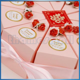 Wedding Favor Box Pink Ribbon Cake Slice Boxes Baby Shower w/ Cute