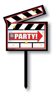 Lights Camera Action Hollywood Themed Movie Set Clapboard Yard Sign