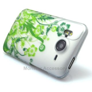 Green Flowers Rubberized Hard Case Cover HTC Inspire 4G