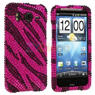 Hot Pink Zebra Bling Hard Case Cover for HTC Inspire 4G