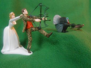 funny wedding cake topper real tree camo camouflage hunting TURKEY