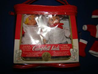 Campbell Soup Kids Twins Set of 2 Dolls & Christmas Mr Mrs Santa Claus