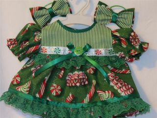 Clothes for 16 Cabbage Patch Kids Doll Holiday Peppermint Dress Set