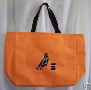 Barrel Racing Racer Orange Tote Bag Horse Rodeo Western