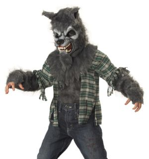 Kids Gray Werewolf Scary Wolf Boys Halloween Costume