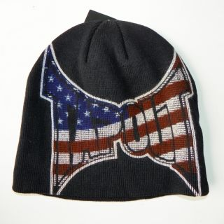 TAPOUT MMA UFC CAGE FIGHT BOXING AMERICAN FLAG LOGO BEANIE BLACK