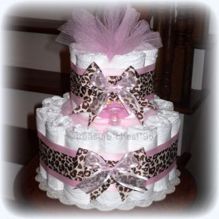 Pink Brown Diaper Cake Baby Shower Centerpiece Girl Animal Print