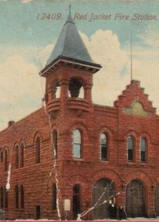 1910s Calumet MI Red Jacket Fire Station Postcard Houghton County