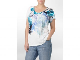 Calvin Klein Woman Painted Lady Novelty T Shirt Womens
