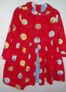 Cakewalk 104 4T Red Lotus Flowers Dots Denim Lined Fun Party Play