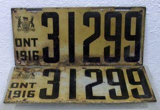 Rare Vintage Antique Ontario Canada 1916 license plate set pair