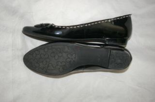 Anne Klein Canale Black Patent Leather Flats Womens 8 M