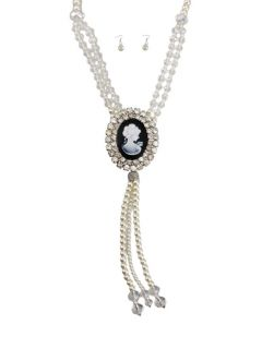 pearl and rhinestone cameo necklace and earring set