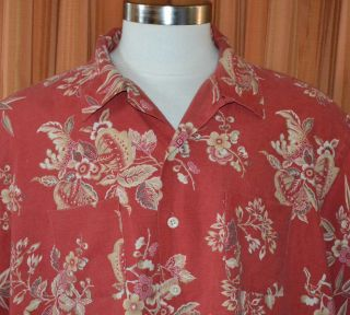 Polo by Ralph Lauren Vintage Camp Red Linen Cotton Floral Shirt Mens