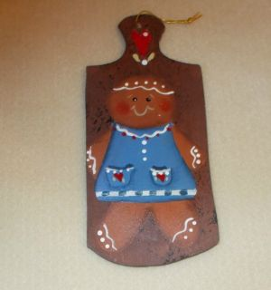 Beautiful Handpainted Large Wooden Christmas Ornament Gingerbread