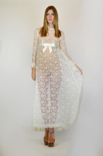 Vtg 70s Empire Waist Sheer Lace Ivory Draped Cape Wedding Maxi Dress