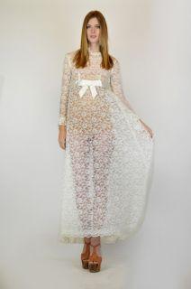 Vtg 70s Empire Waist Sheer Lace Ivory Draped Cape Wedding Maxi Dress