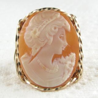 Carved Shell Cameo Ring 14k Rolled Gold Jewelry Vintage Cameo
