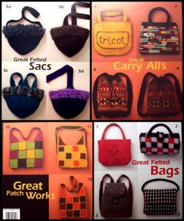 Knitting Felting 12 Patterns Felted Bags Purses Totes