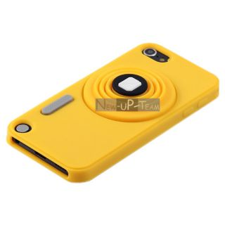 Cute Camera Rubber Back Case Cover Skin +Strap for Apple ipod touch 5