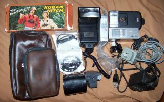 Vintage camera flash units lot of 4 plus accessories Braun Bauer NO