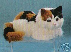Furry Plush Stuffed Animal Calico Kitty Cat Figurine