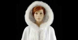New White Satn Wedding Bridal Event Winter Christmas Cape Cloak