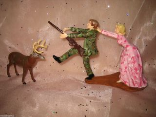 Humorous Wedding Deer Pink Camo Hunter Hunting Cake Topper