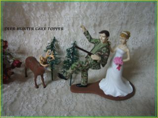 Humorous Wedding Deer Camo Hunter Hunting Cake Topper