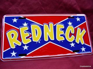 Confederate Flag Redneck Funny Metal Car Tag License Plate New