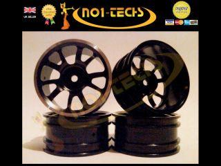 Black Y Spoke Real Alloy Wheels Nitro Brushless Drift Car Tyres