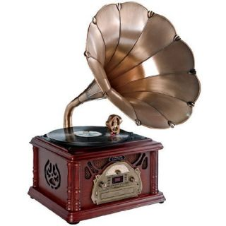 Horn Turntable Record Player Radio Cassette CD Player GREAT GIFT