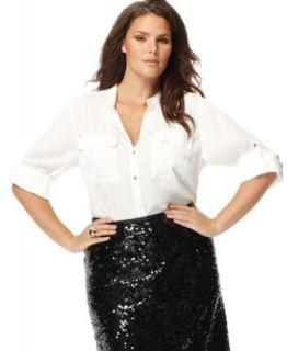 Calvin Klein New White Roll Sleeves Button Front Blouse Top Plus 1x