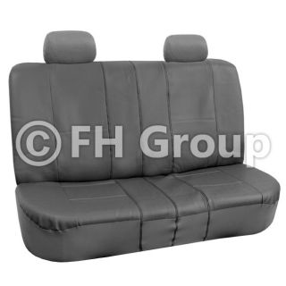 FH PU002114 PU Leather Car Seat Covers Airbag Ready Split Bench Gray