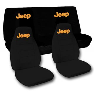 Jeep Wrangler YJ Front Back Car Seat Covers Solid Black w Jeep Choose