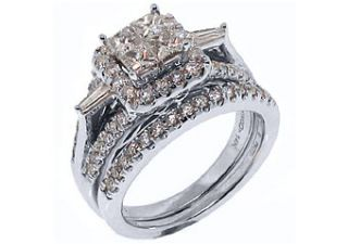 56ct Womens Diamond Engagement Ring Wedding Band Bridal Set Square