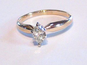 Solid 14kt Gold Marquise .23 Carat Diamond Ring, Good Buy!!!!