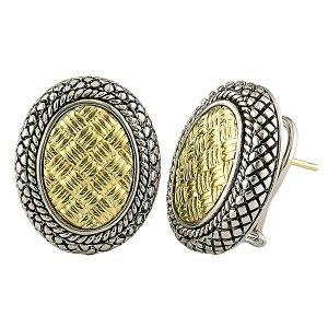 Andrea Candela 18kt Gold & Sterling Silver Weave Pattern Oval Earrings