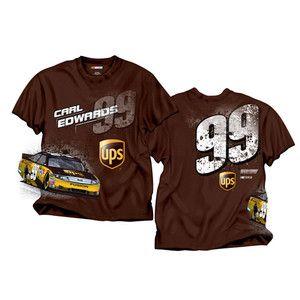 2012 Carl Edwards 99 UPS Mens Brown All Around NASCAR Tee Shirt