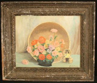 Early California Old Floral Still Life Oil Painting Listed Artist