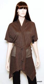 Tahari Carlin Knit Sweater Cardigan Wrap Brown M
