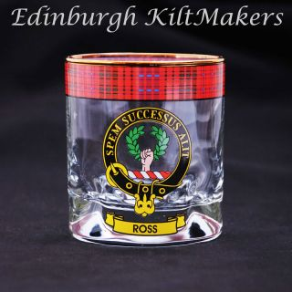 Russell Clan Crested Whisky Glass Tartan Whisky Glasses
