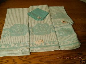 SET UNUSED AQUA BLUE WHITE 100 COTTON CANNON BATH TOWELS HAND WASH NWT