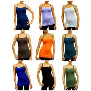 Colors Long Spaghetti Strap Tank Top Camis Basic Camisole s L