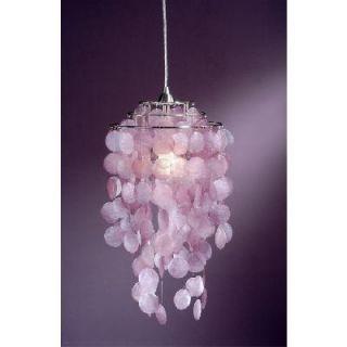 NEW 1 Light Pendant Lighting Fixture, Satin Nickel, Pink Capiz Shells