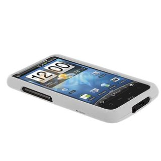 White Hard Snap on Skin Case Cover for HTC Inspire 4G