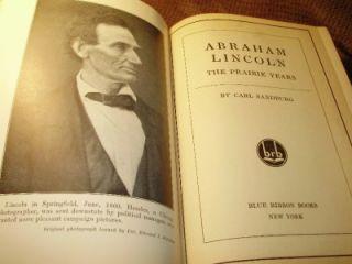 Abraham Lincoln The Prairie Years by Carl Sandburg 1926