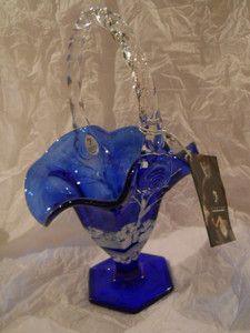 Fenton Art Glass Cobalt Blue Canaan Valley Basket Shelley Fenton